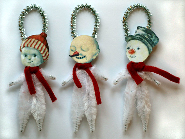 Vintage style chenille snowman ornaments vintage style for What to do with old christmas ornaments