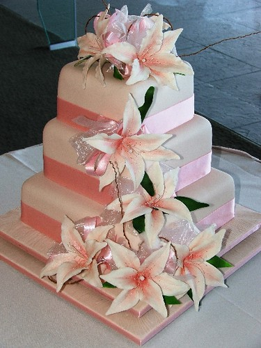 Wedding Cakes Lily White Pink 3 Tiers Merivale Cakes