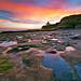 Natural bridge state beach at sunset