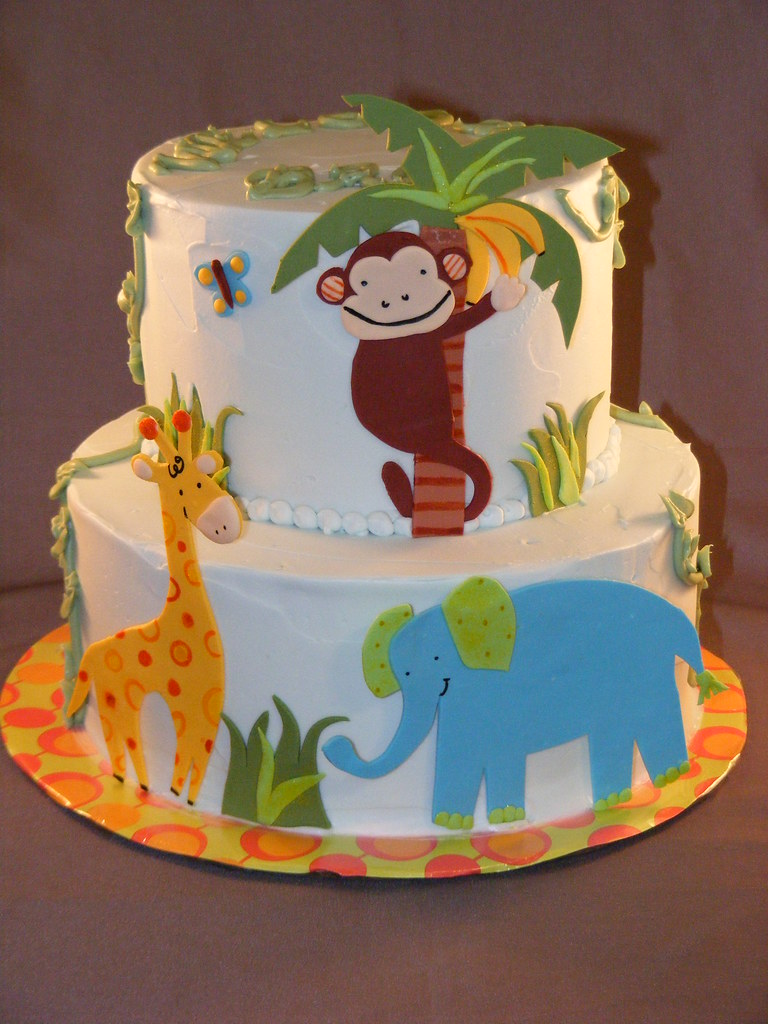 Jungle Baby Shower Cake I Know Bananas Dont Grow On Palm Flickr