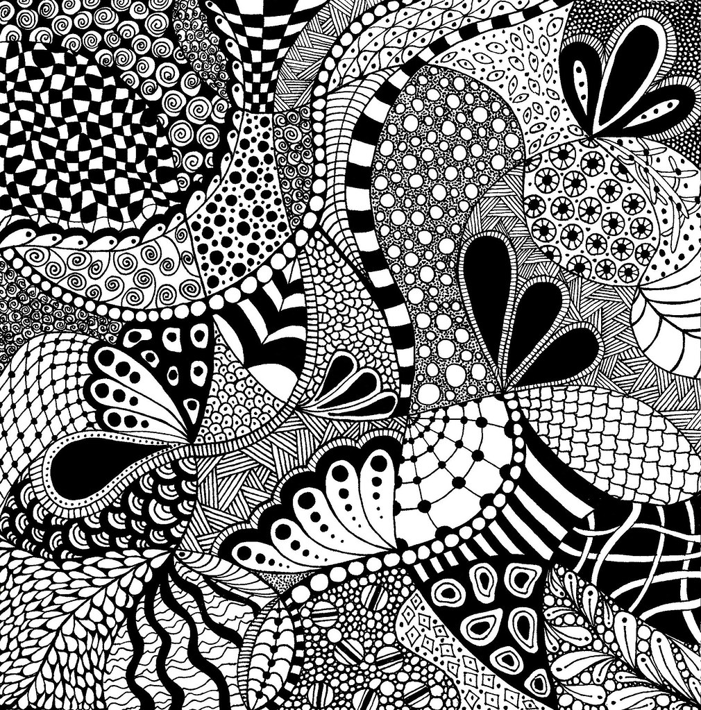Line Art Patterns : Zentangle square drawin on quot bristol