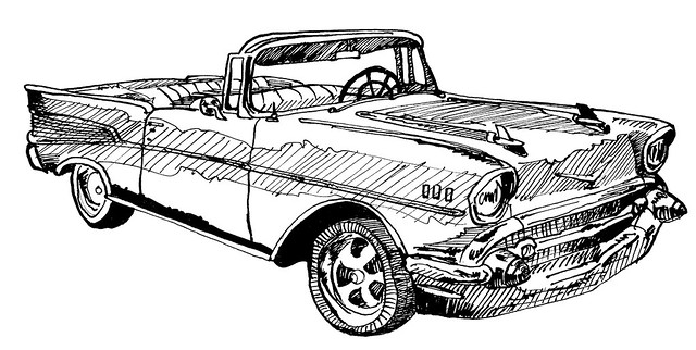 chevrolet bel air 57 u0026 39  convertible sketch