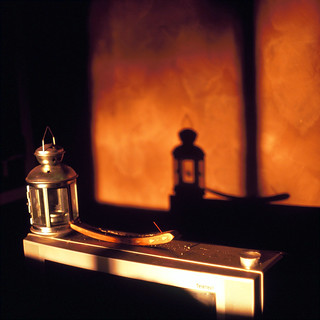 Incense holder, tealight lantern and shadows | by johnno_oz