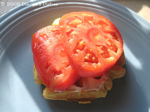 Cornmeal Waffles: Tomato Sandwich | by Dianne's Dishes