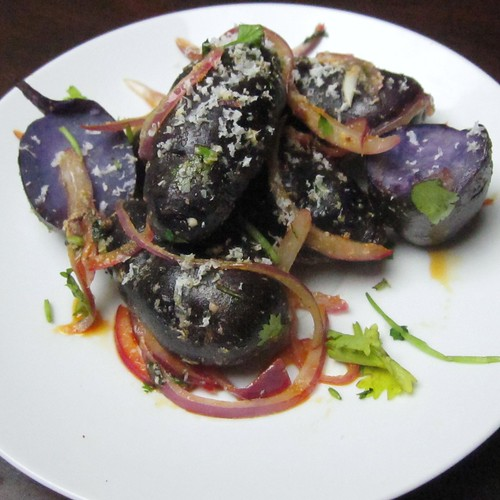purple potatoes with cotija and onions | by SeppySills