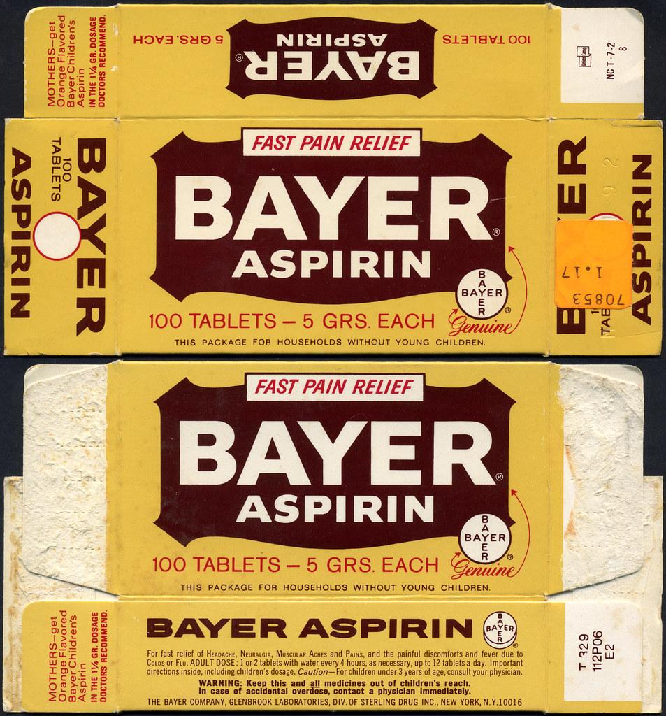 Vintage bayer aspirin labels