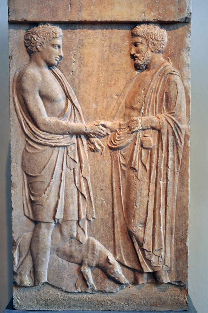 Grave Stele This Represents A Dexiosis Handshake