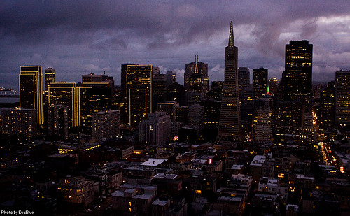 san francisco at the cusp of sunset and early evening from the coit tower | by Eva Blue