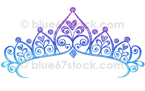 Hand Drawn Sketchy Princess Tiara Crown Doodle Drawing Vec