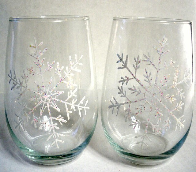 Hand Painted Snowflake Stemless Wine Glasses. Winter, Chri