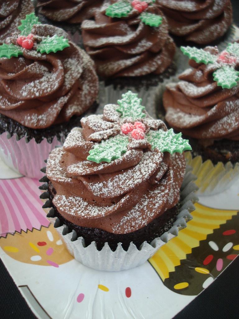 Chocolate Cupcake With Purple Roses