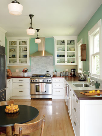 white teal kitchen with vintage fixtures flickr