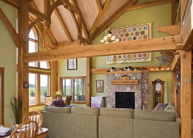 the melody lane timber frame home great room 3 by riverbend timber framing