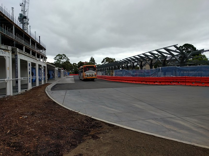 New bus interchange under construction, Monash University