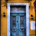 Blue door, yellow wall