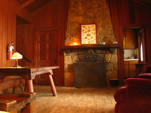 Living Room Inside Cabin C A Large Stone Fireplace Kept