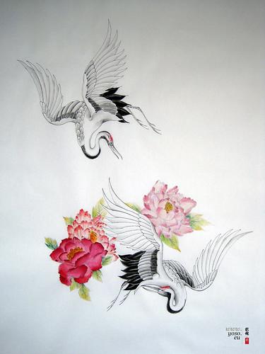 crane tattoo study 3rd generation new custom design study flickr. Black Bedroom Furniture Sets. Home Design Ideas