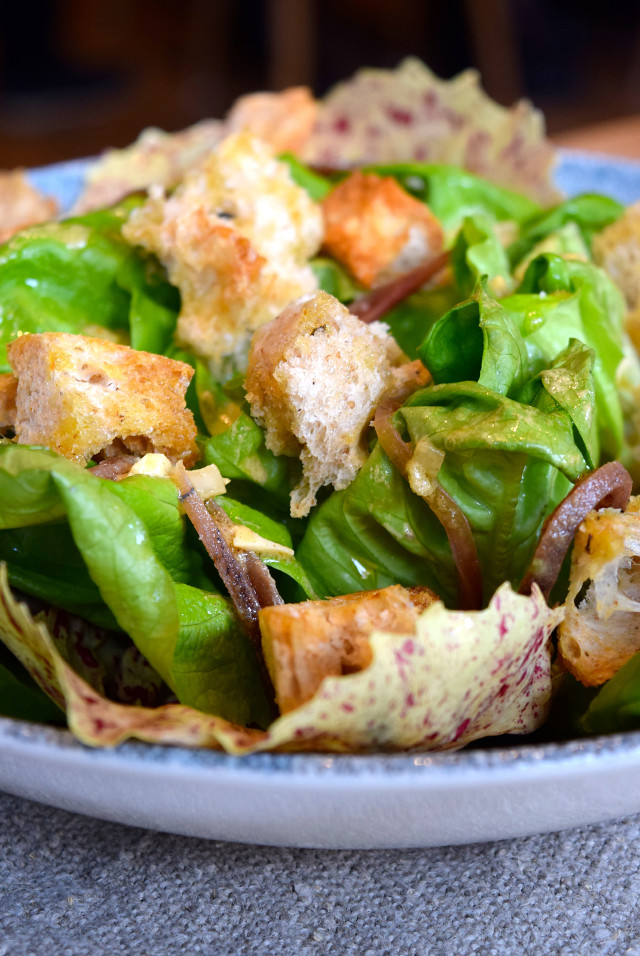Butter Lettuce, Ortiz Anchovy, Garlic Croutons at The Wife of Bath | www.rachelphipps.com @rachelphipps