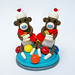 Twin Boy Baby Shower Sock Monkey Cake Topper