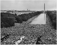 Civil Rights March on Washington, D.C. [A wide-angle view of marchers along the mall, showing the Reflecting Pool and the Washington Monument.], 08/28/1963 | by The U.S. National Archives