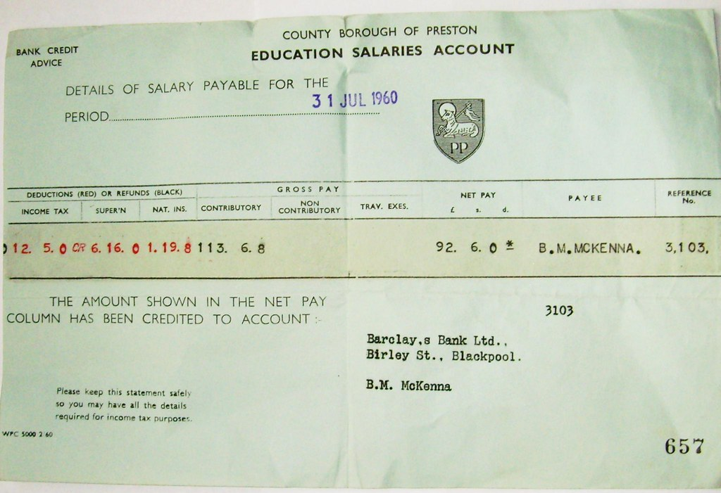 1960s teachers salary slip from Preston | A bit of Preston m… | Flickr