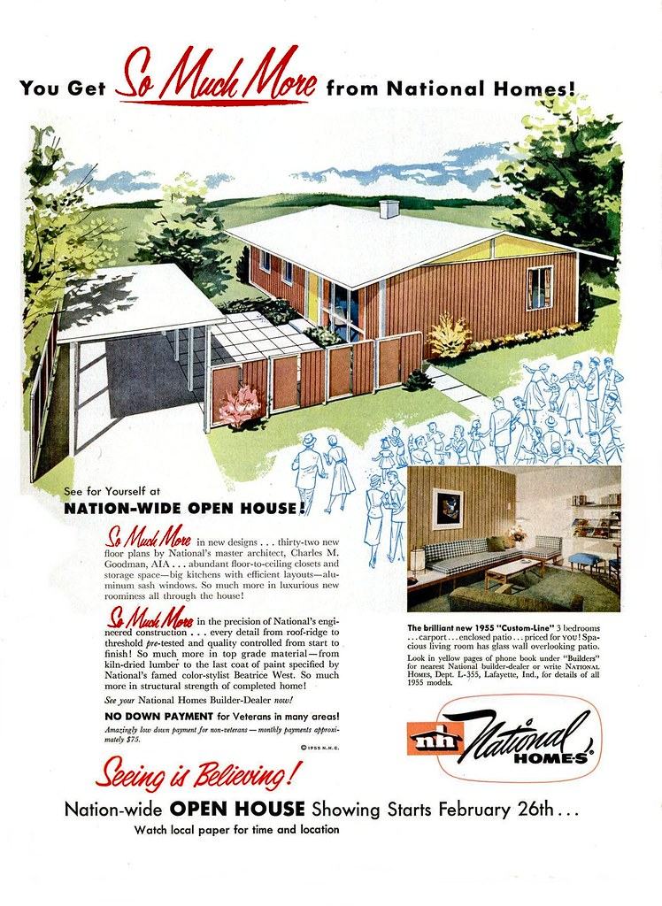 National homes ad life 1955 architect charles goodman for National house builders