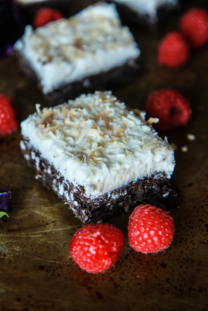 Coconut Fudge Brownies- Vegan and Gluten Free from HeatherChristo.com
