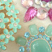 Aqua and Pink Brooches
