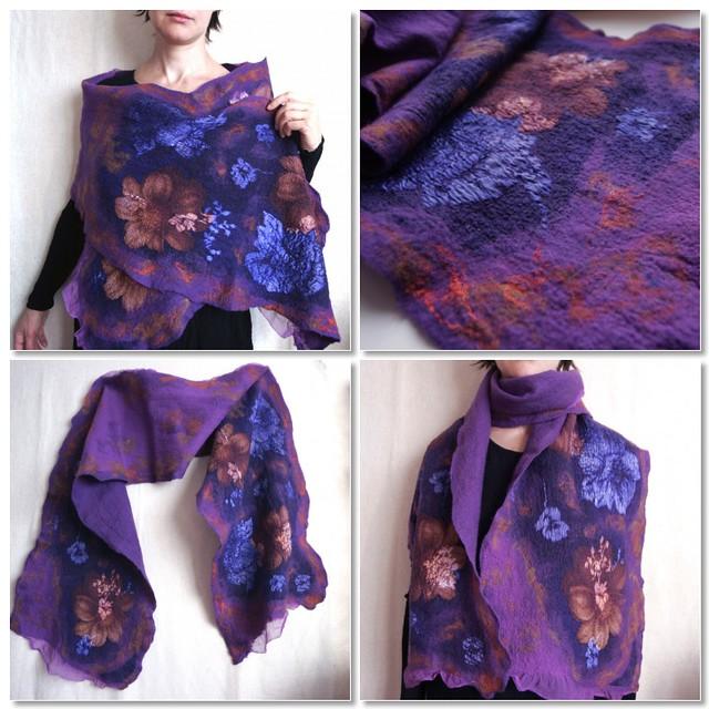 nuno felted scarf wrap purple flowers evgeniya bobrova