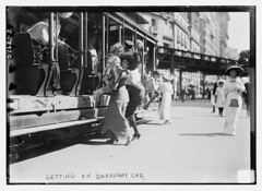 Getting on Broadway car  (LOC) | by The Library of Congress