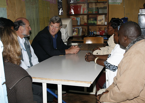 Agriculture Secretary Tom Vilsack meeting with staff at Stara Rescue Center in Nairobi Kenya August 4, 2009.