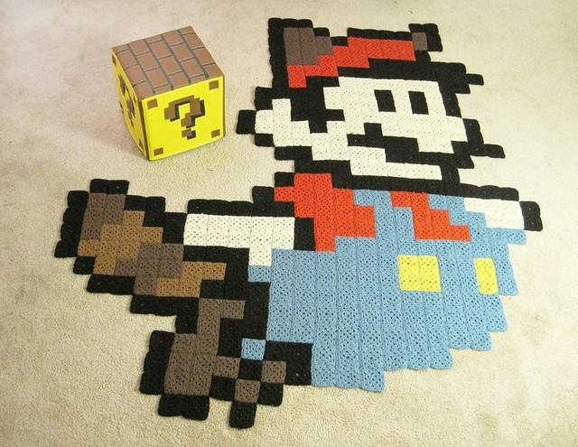 ... Raccoon Mario rug \u0026 Question Block ottoman for Nintendo Power magazine | by anenemyairship & Raccoon Mario rug \u0026 Question Block ottoman for Nintendo Po\u2026 | Flickr