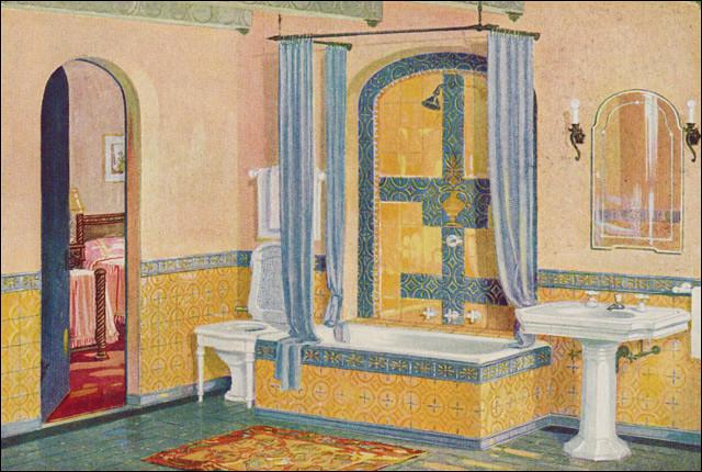 1926 yellow blue tile bath by crane source house for Bathroom ideas 1930s semi