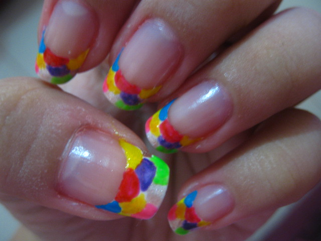 Nail Art Design Colorful French Tip Colorful French Tip Maria