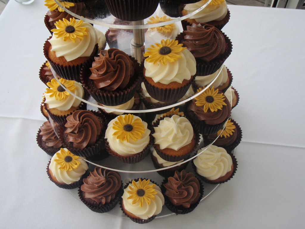 Sunflower wedding cupcake tower Kate Jewell