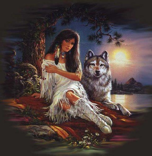 Indian girl with wolf carmorr64