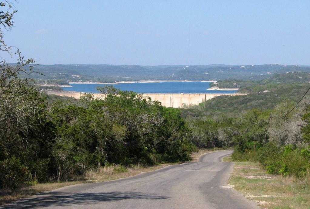 Medina Lake, Texas from Old Medina Dam Road -- comparison ...