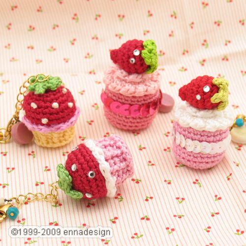 Kawaii Amigurumi Cupcake Keychain : Miniature Amigurumi Cake available at my shop Emi ...