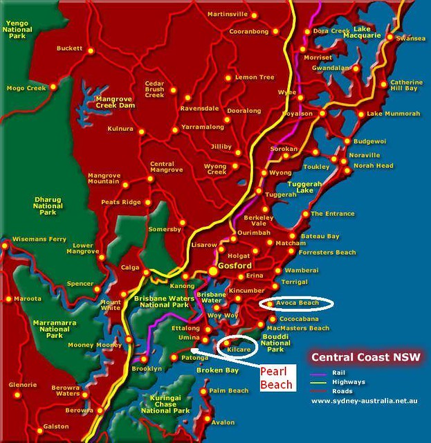 Map of NSW Central Coast a lizating