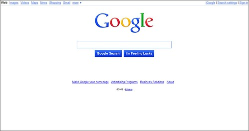 google home page design. toprankmarketing new google home page 112609 | by design e