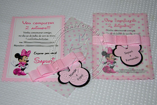Convite Minnie Rosa | by Mariah Baby - Lembrancinhas