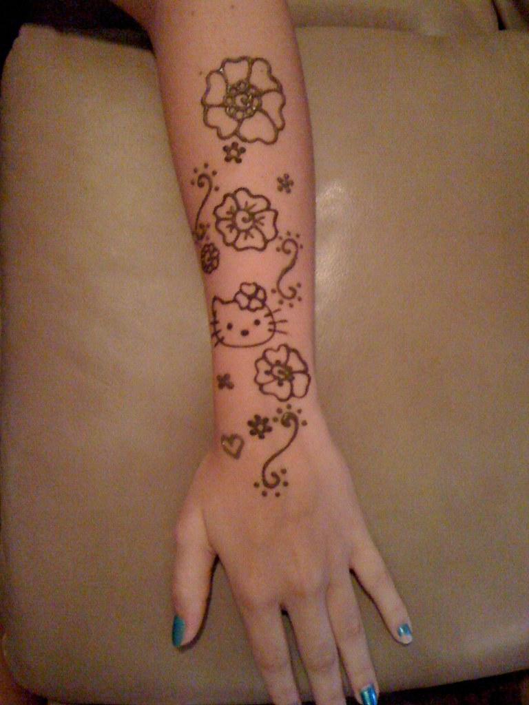 Gambar Henna Motif Hello Kitty