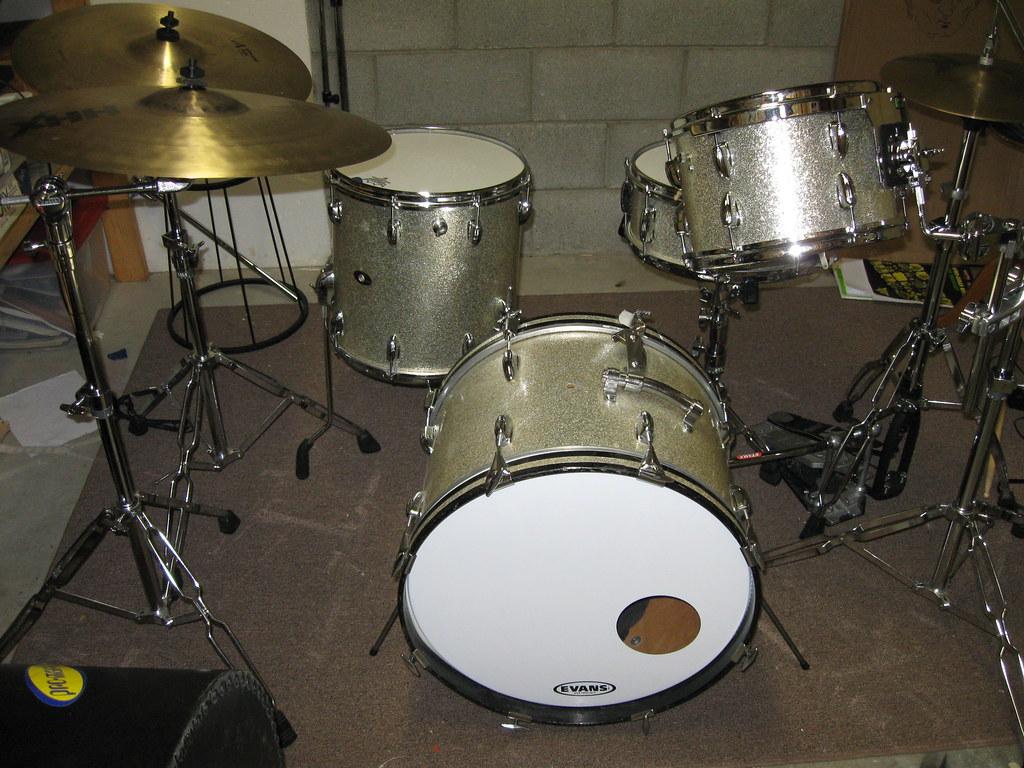 For Sale Vintage Slingerland Silver Sparkle Drum Kit