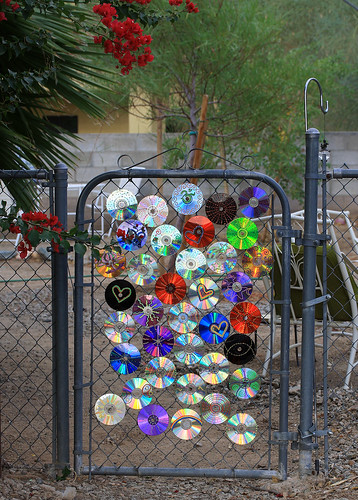 Disc Decorations Cd S On A Gate See This Image In The
