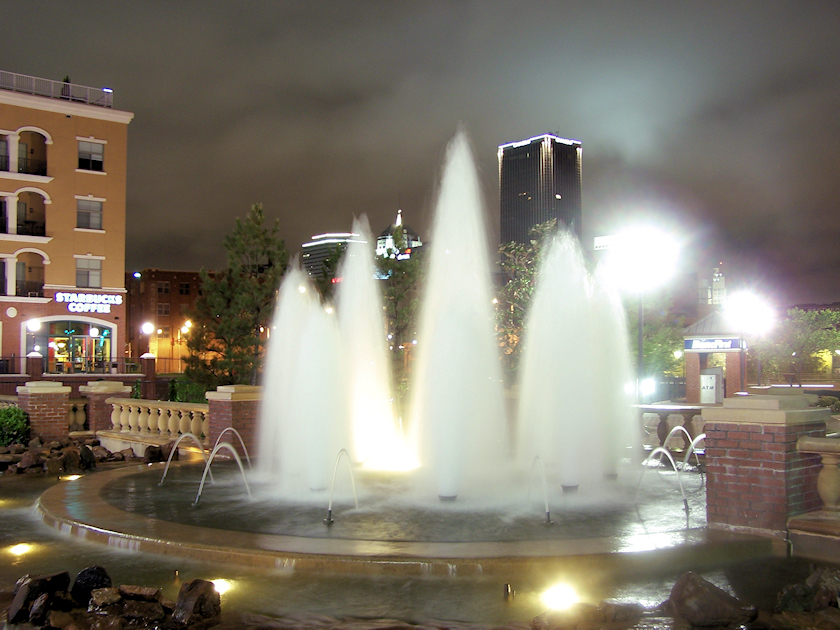 Bricktown Fountain at Night