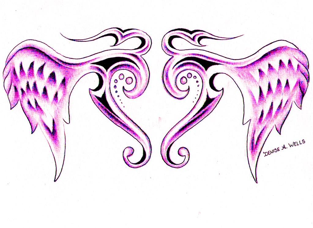 Tribal Winged Heart Ta...