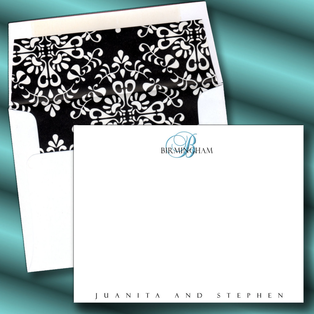 custom personalized black damask elegant note card stationery stationary thank you card wedding elegant exquisite lined - Initial Note Cards
