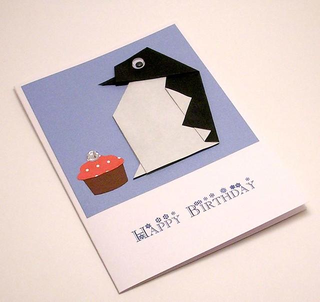 Origami Penguin Birthday Card Kittykatkards Flickr