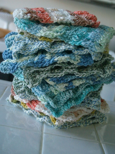 Free Crochet Pattern For Basket Weave Dishcloth : Stack of Washcloths reesedixon Flickr