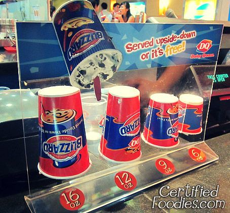 Cup sizes for Dairy Queen's Blizzard - it should be served ...